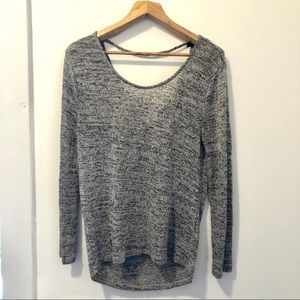 Slouchy H&M Space Gray Sweater with Open Back
